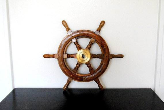 Vintage Wood Nautical Boat Steering Wheel