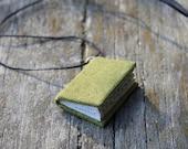 Unpretentious greenery - miniature book necklace