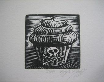 poison cupcake lino print