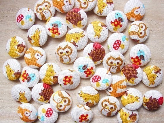 10 pcs. of  Woodland Kawaii  Fabric Covered Buttons / 18mm