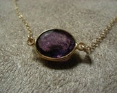 Private listing -- Large Gem Cut Amethyst Oval and Vermeil Gold Filled Suspension Necklace