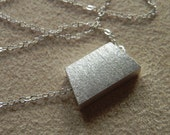 Brushed Sterling Silver Trapezoid Necklace Geometric Jewelry
