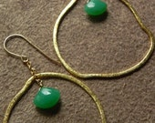 Faceted Chrysophrase and Organic Gold Vermeil Earrings on Gold Filled Earwires