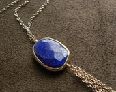 Lapis, Vermeil and Gold Filled Tassel Chain Long Necklace 14kt