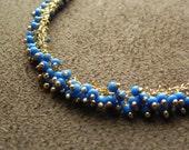 Blue Glass Vermeil and Gold Filled Cluster Necklace 14kt