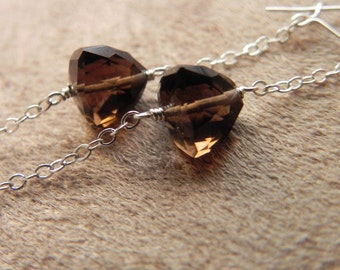 Faceted Smokey Quartz Pyramids and Sterling Silver Chain Link Earrings
