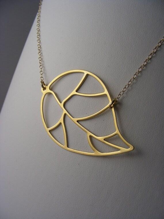 SALE  Matte Gold Modern Leaf Necklace  SALE