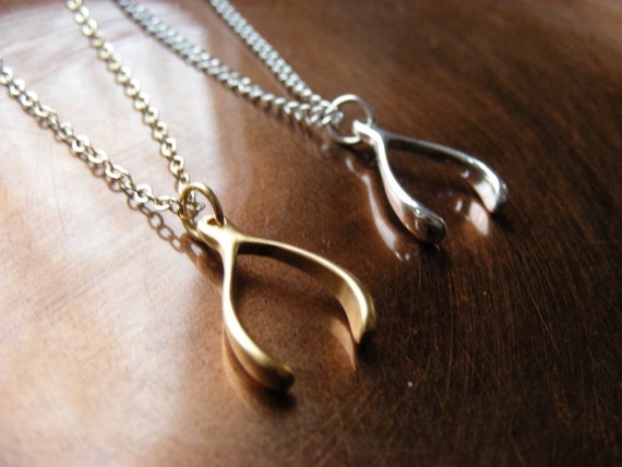 Holiday Sale Sterling Silver Wishbone Necklace