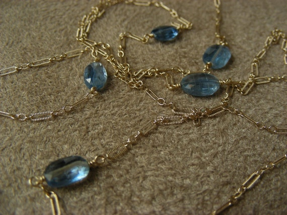 Kyanite and Gold Fill Necklace - ANNIVERSARY SALE - See shop announcement