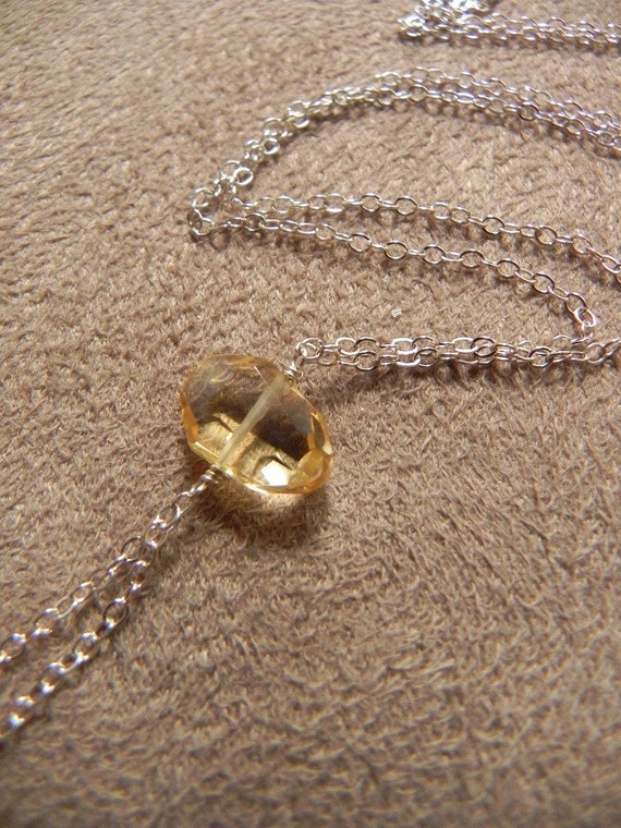 Faceted Citrine and Sterling SIlver Tassel Chain Necklace