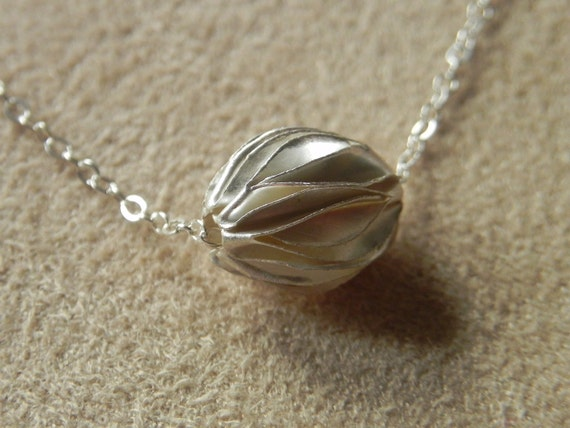 Sterling Silver Wave Necklace 925 Origami