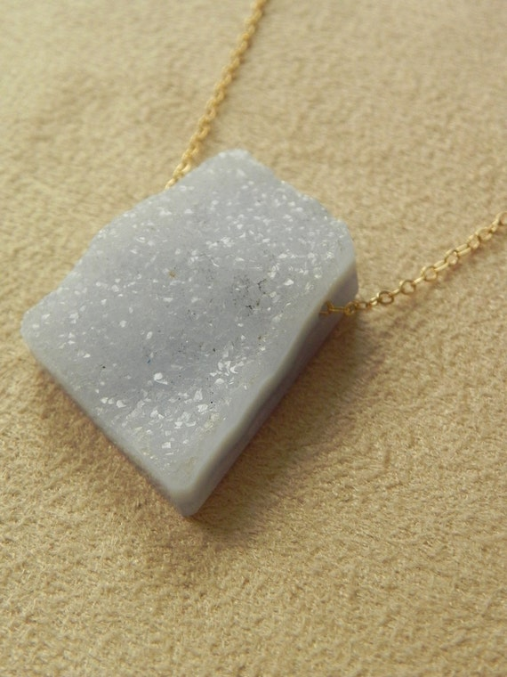 SALE  Druzy Blue Lace Agate Chalcedony Pendant on Gold Filled Chain   SALE