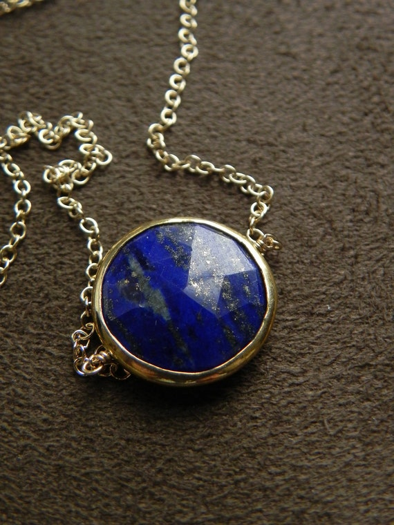 Lapis Vermeil Coin and Gold Filled Suspension Necklace 14kt