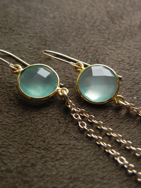 Pale Aqua Chalcedony Vermeil and 14kt Gold Filled Tassel Earrings