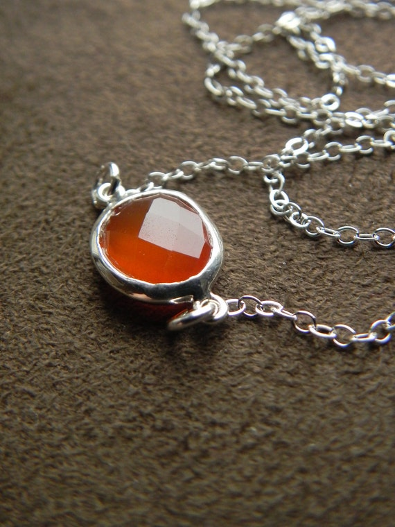 Warm Carnelian and Sterling Silver Suspension Necklace