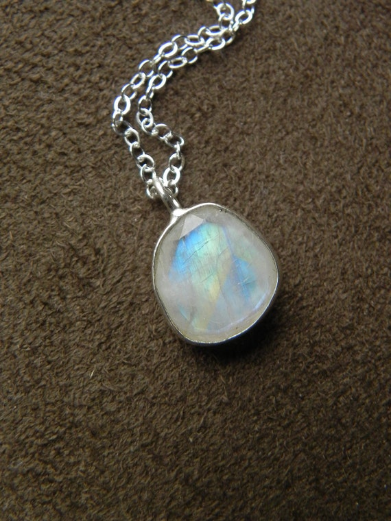 Faceted Rainbow Moonstone and Sterling Silver Pendant Necklace  VALENTINE SALE