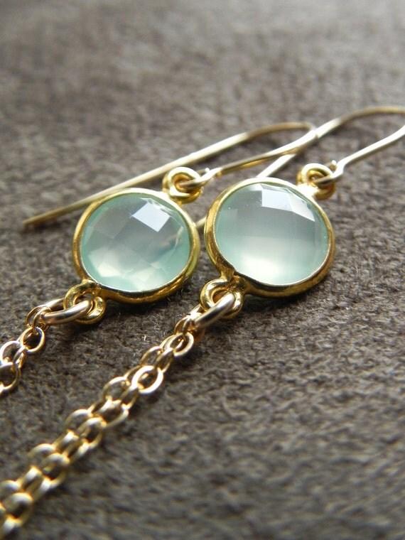 Prehnite Vermeil and 14kt Gold Filled Tassel Earrings SALE