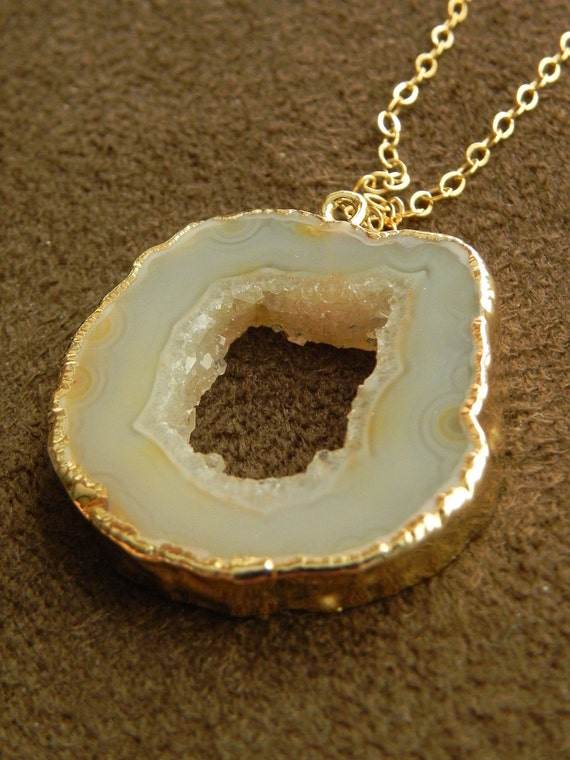 Pale Druzy Oco Agate Circle Slice and 14kt Gold Filled Necklace