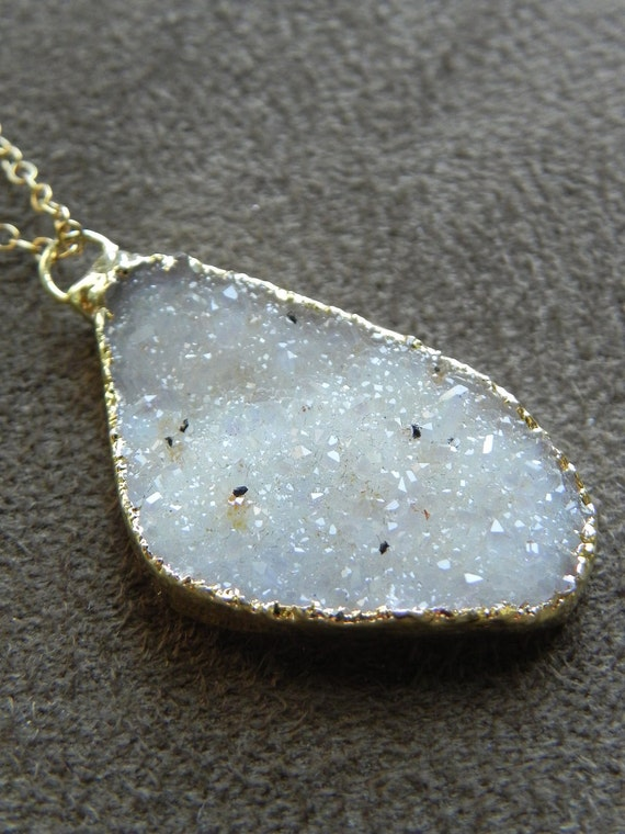 Ivory Vanilla Druzy Brazilian Agate Pendant and 14kt Gold FIlled Chain Necklace