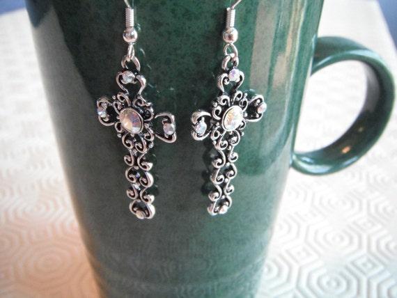 Ornate Looking Cross Earrings