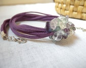 fluorite natural chip beads on purple suede cord - choker