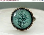 ENTIRE SHOP On SALE Aqua Winter Tree Ring in Antique Brass