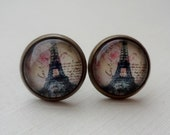 Ivory Eiffel Tower Paris Post Earrings in Antique Brass. Soft Roses