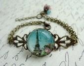 Paris Eiffel Tower Bracelet, gift for her under 25 usd
