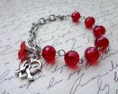 Dark Red Silver Love Birds Charm Bracelet
