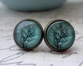 Aqua Tree Post or Dangle Earrings. You choose - Antique Brass, Silver or Gunmetal