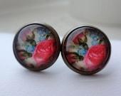 Vintage Inspired Rose Post Earrings in Antique Brass. Pink. Blue. Flowers