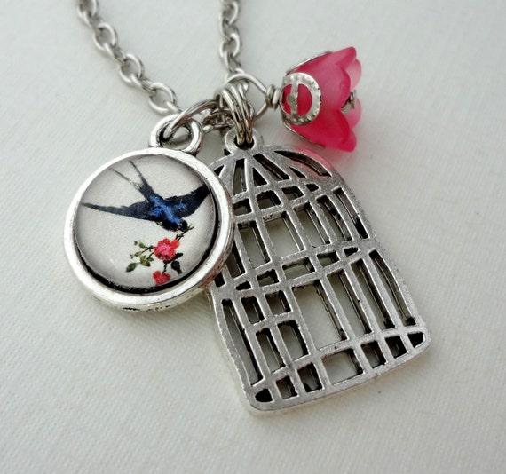 SHOP SALE- Bird Cage Necklace. Bird. Flowers. Navy Blue. Pink
