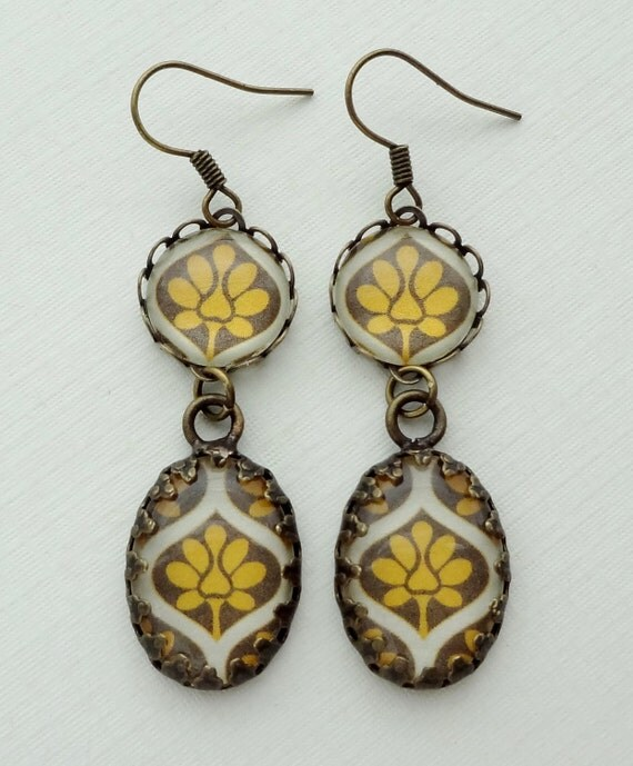 Mustard Yellow and Gray Earrings in Antique Brass. Gift for her under 25 usd