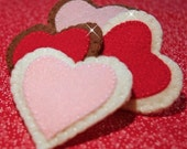 Wool Felt Heart Shaped Sugar Cookies Perfect for Valentine's Day - Waldorf Inspired Heirloom Quality Wool Felt Play Food