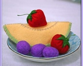Wool Felt Play Food - Cantaloupe Slice - Waldorf Inspired Play Kitchen Accessory for Imaginative Play