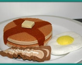 Wool Felt Play Food for Kids - Breakfast Pancakes, Egg and Bacon - Waldorf Accessory for Imaginative Play