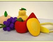 Wool Felt Play Food - Mango Half- Waldorf Inspired Pretend Kitchen or Market Accessory for Imaginative Play