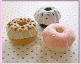 Felt Donuts - Waldorf Inspired Felt Playfood Accessory for Imaginative Play - A Whimsical Assortment of Chocolate, Vanilla and Maple