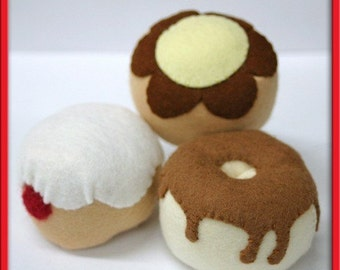 Wool Felt Play Food - Donut Set - Great for Birthday Gift/Present or Any Gift Giving Occasion