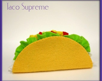 Natural Wool Felt Play Food - Taco  - Waldorf Inspired Play Kitchen Accessory for Imaginative Play