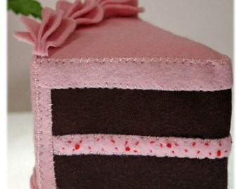 Wool Felt Play Food - Chocolate Cake Slice with Strawberry Filling - Waldorf Inspired Accessory for Imaginative Play