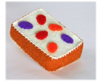 Natural Merino Wool Felt Play Food - Fruitcake Slice - Waldorf Inspired Pretend Kitchen or Market Accessory for Imaginative Play