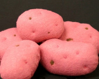 Wool Felt Playfood - 5 Red Potatoes Fresh from the Garden - Waldorf Inspired Felt Playfood Accessory for Imaginative Play