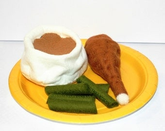 Wool Felt Play Food - Chicken Leg Mashed Potatoes and Green Beans