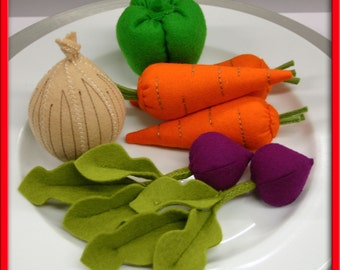 Wool Felt Play Food - Carrot Bunch - Vegetables