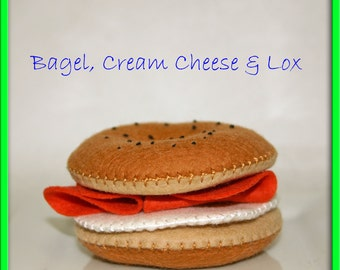 Wool Felt Play Food Bagel Cream Cheese and Lox - Unique Playfood Accessory for Imaginative Play