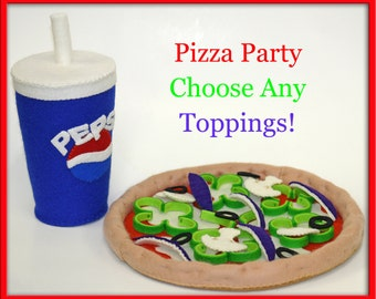 Wool Felt Whole Pizza - Waldorf Inspired Natural Playfood Accessory for Imaginative Play