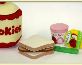 Felt Play Food - Applesauce and Yogurt Containers for Imaginative Play - Handmade