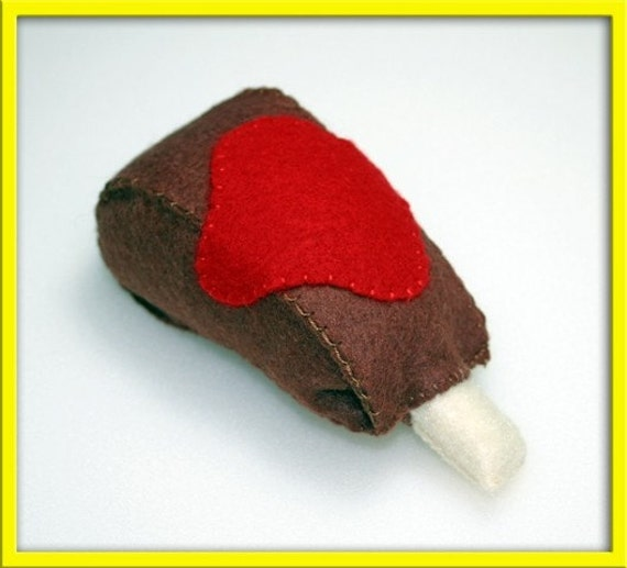 Felt Play Food - Country Style BBQ Rib - Waldorf Inspired Accessory for Kids
