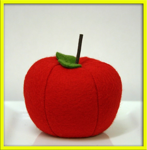 Natural Wool Felt Whole Apple - Waldorf Inspired Felt Pretend Kitchen Accessory for Imaginative Play